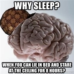 Scumbag Brain - Why sleep? when you can lie in bed and stare at the ceiling for 8 hours?
