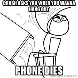 Desk Flip Rage Guy - crush asks you when you wanna hang out phone dies