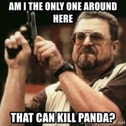 Walter Sobchak with gun - AM I THE ONLY ONE AROUND HERE THAT CAN KILL PANDA?
