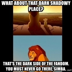 Lion King Shadowy Place - What about that dark shadowy place? that's the dark side of the fandom. you must never go there, simba.