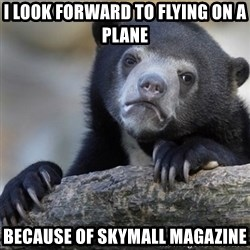 Confession Bear - I look forward to flying on a plane Because of Skymall Magazine