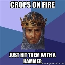 Aoe2 - Crops on fire just hit them with a hammer