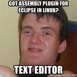 Stoner Stanley - got assembly plugin for eclipse in linux? text editor
