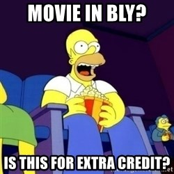 Homer Simpson Popcorn - movie in bly? is this for extra credit?