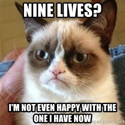 Grumpy Cat  - nine lives? I'm not even happy with the one i have now