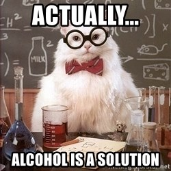 Science Cat - ACTUALLY...  ALCOHOL is a solution