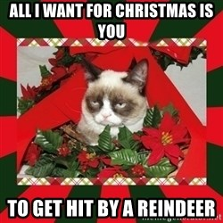 GRUMPY CAT ON CHRISTMAS - all i want for christmas is you to get hit by a reindeer