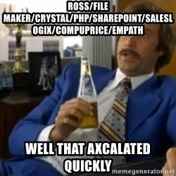 That escalated quickly-Ron Burgundy - ROSS/File Maker/Crystal/php/sharepoint/saleslogix/compuprice/empath Well that axcalated quickly
