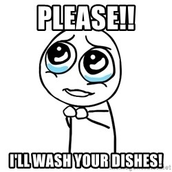 pleaseguy  - Please!! I'll wash your dishes!