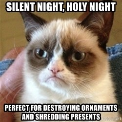 Grumpy Cat  - silent night, holy night perfect for destroying ornaments and shredding presents