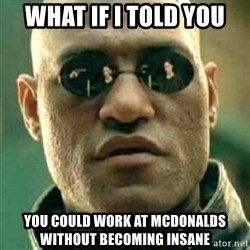 what if i told you matri - What if i told you you could work at mcdonalds without becoming insane