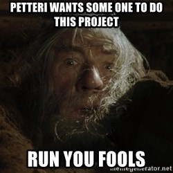 gandalf run you fools closeup - Petteri Wants some one to do this project run you fools