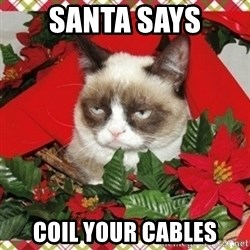 Grumpy Christmas Cat - Santa Says Coil your cables