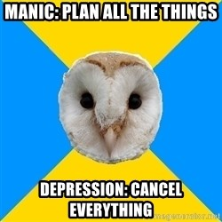 Bipolar Owl - MANIC: Plan all the things DEPRESSION: CANCEL EVERYTHING