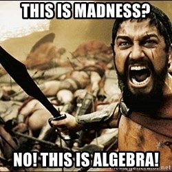 This Is Sparta Meme - tHIS IS MADNESS? nO! THIS IS ALGEBRA!