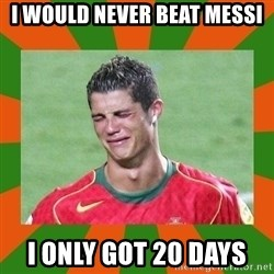 cristianoronaldo - I WOULD NEVER BEAT MESSI  I ONLY GOT 20 DAYS