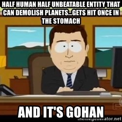 south park aand it's gone - half human half unbeatable entity that can demolish planets...gets hit once in the stomach and it's gohan