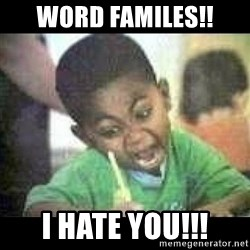 Black kid coloring - WORD FAMILES!! I HATE YOU!!!