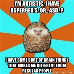 Autistic Hedgehog - I'm Autistic, I have asperger's. or.. asd..? I have some sort of brain thingy that makes me different from regular people