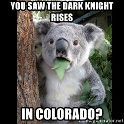 Koala can't believe it - you saw the dark knight rises in colorado?