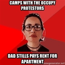 Liberal Douche Garofalo - camps with the occupy protestors dad stills pays rent for apartment