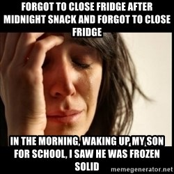First World Problems - forgot to close fridge after midnight snack and forgot to close fridge in the morning, waking up my son for school, i saw he was frozen solid