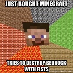 Minecraft Guy - just bought minecraft tries to destroy bedrock with fists