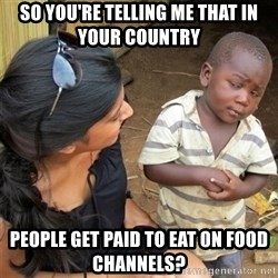 So You're Telling me - So you're telling me that in your country  people get paid to eat on food channels?