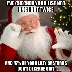Santa claus - I've checked your list not once but twice And 47% of your lazy bastards don't deserve shit
