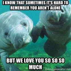 Manatee - I know that sometimes it's hard to remember you aren't alone But we love you so so so much