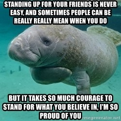 Manatee - STANDING UP FOR YOUR FRIENDS IS NEVER EASY, AND SOMETIMES PEOPLE CAN BE REALLY REALLY MEAN WHEN YOU DO BUT IT TAKES SO MUCH COURAGE TO STAND FOR WHAT YOU BELIEVE IN, I'M SO PROUD OF YOU