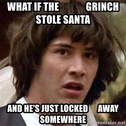 Conspiracy Keanu - what if the              grinch stole santa and he's just locked      away somewhere
