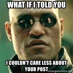 what if i told you matri - What if i told you i couldn't care less about your post