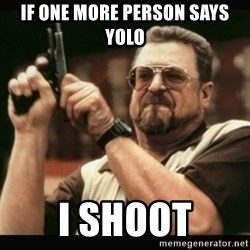am i the only one around here - if one more person says yolo i shoot