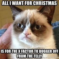 Grumpy Cat  - all i want for christmas is for the x factor to bugger off from the telly