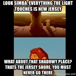 Lion King Shadowy Place - Look Simba, Everything the light touches is New Jersey What about that shadowy place?              Thats the jersey shore. you must never go there
