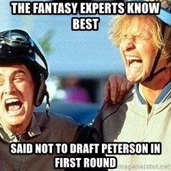 Dumb and Dumber - the fantasy experts know best said not to draft peterson in first round