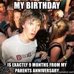 Sudden Realization Ralph - My Birthday is exactly 9 months from my parents anniversary