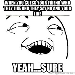 Yeah....Sure - WHEN YOU GUESS YOUR FRIEND WHO THEY LIKE AND THEY SAY NO AND YOUR LIKE YEAH....SURE