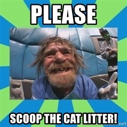 hurting henry - please scoop the cat litter!