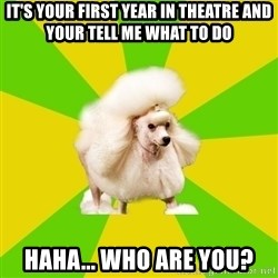 Pretentious Theatre Kid Poodle - It's your First year in theatre AND YOUR TELL ME WHAT TO DO  haha... who are you?