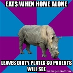 Recovery Rhino - eats when home alone leaves dirty plates so parents will see