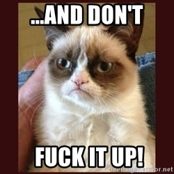 Tard the Grumpy Cat - ...AND DON'T  fuck it up!