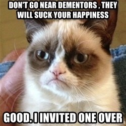 Grumpy Cat  - don't go near dementors , they will suck your happiness good. i invited one over