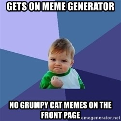 Success Kid - Gets on Meme Generator No grumpy cat memes on the front page