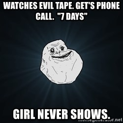 "Forever Alone - Watches evil tape. Get's phone call.  ""7 Days"" Girl never shows."