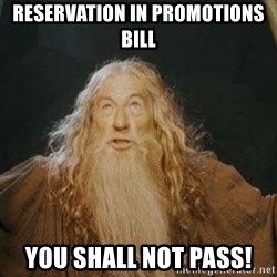 You shall not pass - Reservation in promotions bill you shall not pass!
