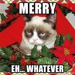 Grumpy Christmas Cat - Merry eh... Whatever
