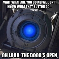 Portal Wheatley - wait what are you doing we don't know what that button do-- oh look, the door's open
