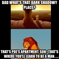 Lion King Shadowy Place - Dad what's that dark shadowy place? That's Poe's Apartment, son.  That's where you'll learn to be a man.